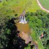 Vista aérea da Cachoeira Saltão, em Brotas